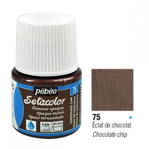 Tinta Tecido Setacolor Brilhante Pébéo 45ml Chocolate Chip 75