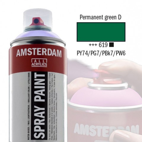 Spray Acrílico Amsterdam PERMANENT GREEN DEEP 619
