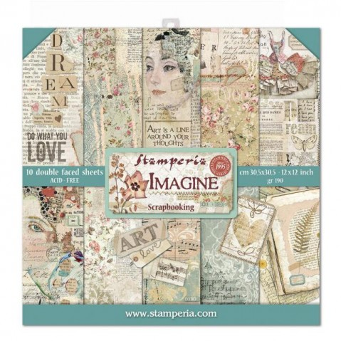 Bloco Papel Scrapbooking Imagine SBBL65 STAMPERIA 30X30CM