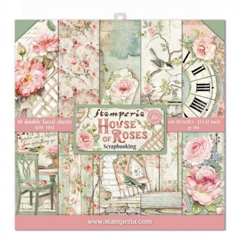 Bloco Papel Scrapbooking House of Roses SBBL66 STAMPERIA 30X30CM