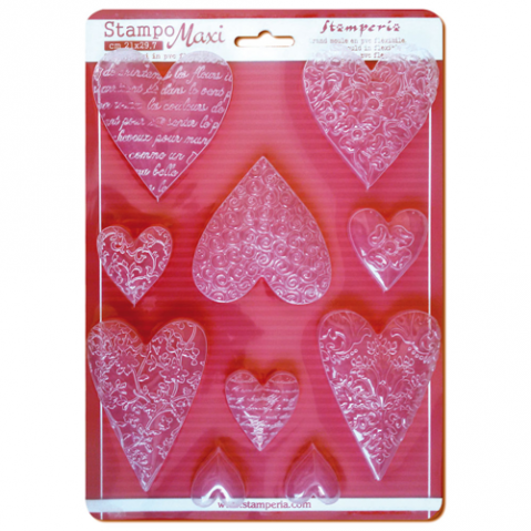 Molde Stamperia Textured Hearts K3PTA425