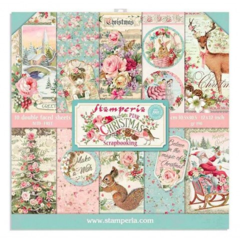 Bloco Papel Scrapbooking Pink Christmas SBBL73 STAMPERIA 30X30CM